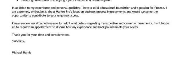 Finance Cover Letter Best Accounting Finance Cover Letter Examples Livecareer