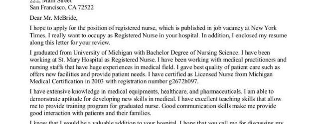 Sample Nursing Cover Letter New Grad Nurse Cover Letter Example Nursing Cover Letter Cached