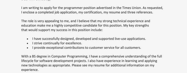 Cover Letter For Job Application Sample Cover Letter For A Job Application
