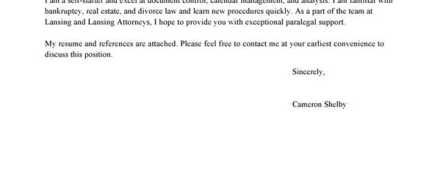 Cover Letter For Law Firm Leading Professional Paralegal Cover Letter Examples Resources