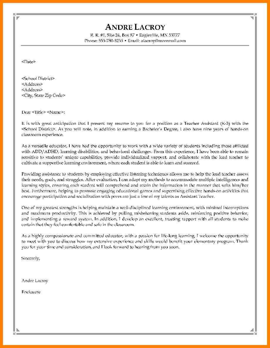 Cover Letter For Teachers 9 Cover Letter Teacher Assistant Wsl Loyd