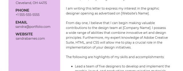Creative Cover Letter 10 Cover Letter Templates And Expert Design Tips To Impress