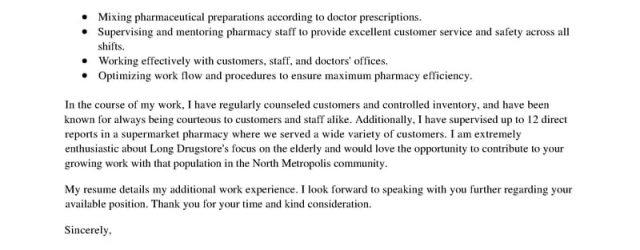 Pharmacist Cover Letter Best Pharmacist Cover Letter Examples Livecareer