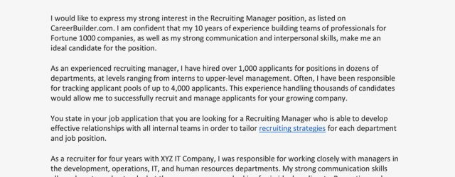 Recruiter Cover Letter Sample Cover Letter And Resume For A Recruiter