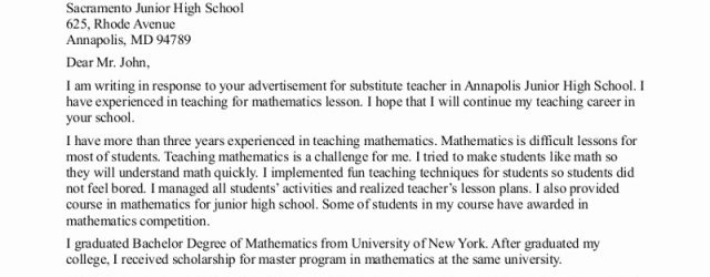 Substitute Teacher Cover Letter Cover Letter For Substitute Teachers Zorocreostoriesco