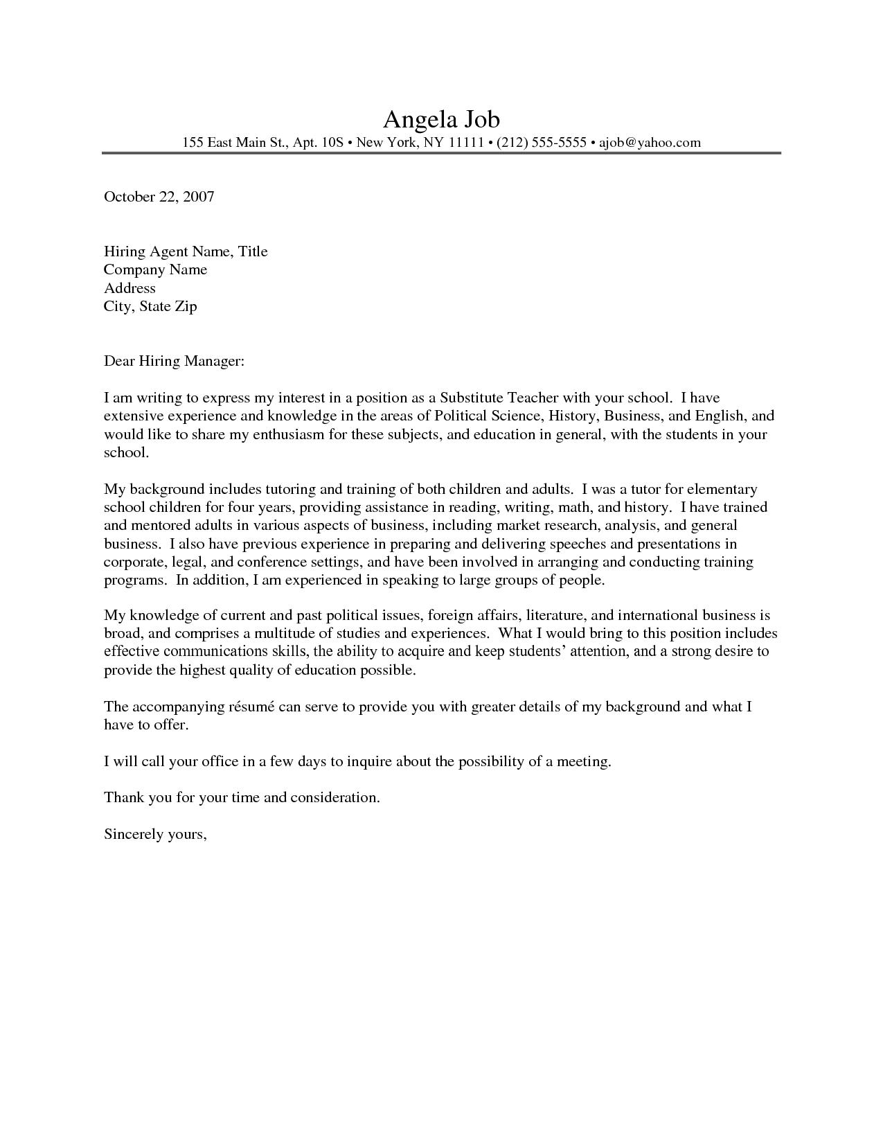 Teacher Cover Letter Elementary Sample Resume Cover Letter Teaching For Fresh Graduates Example