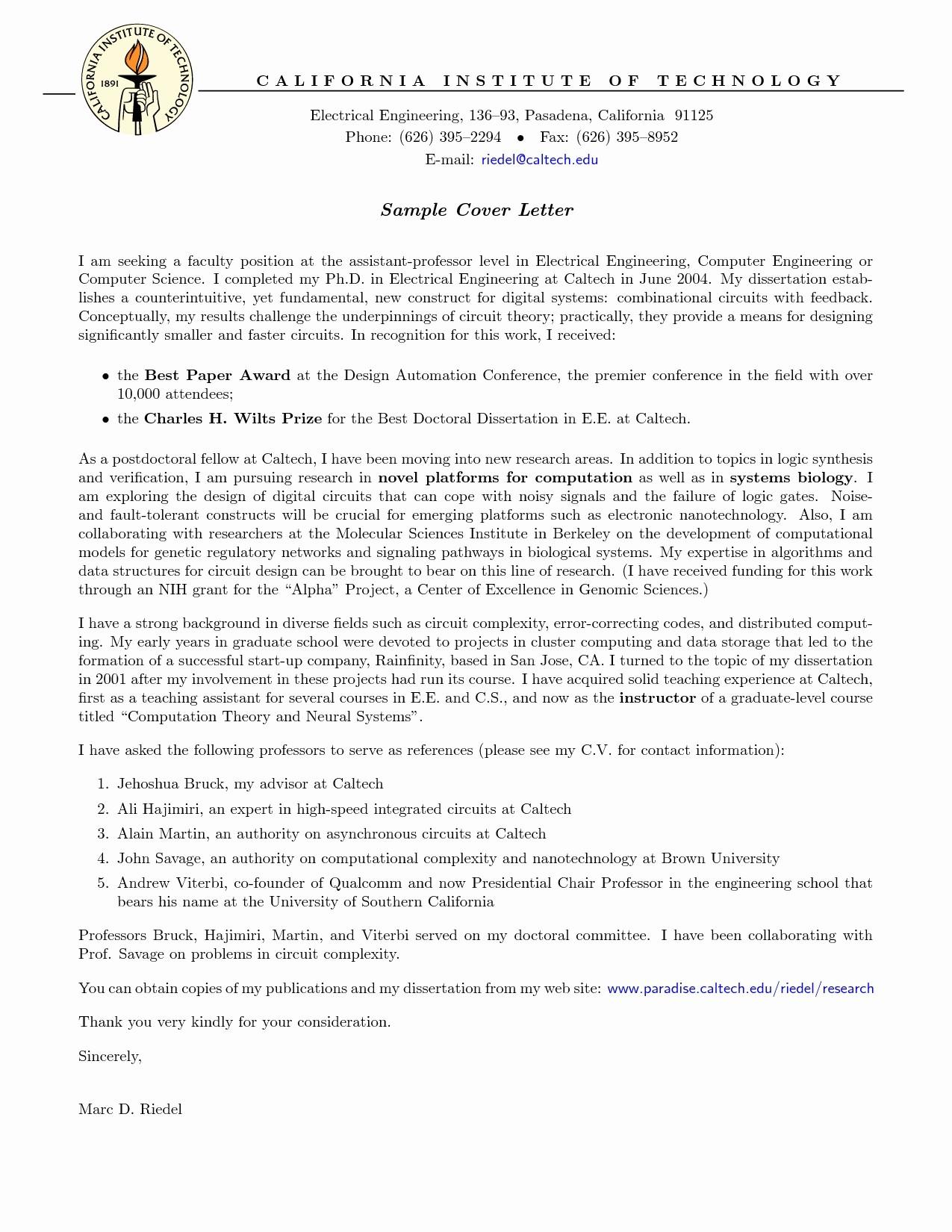 Teacher Cover Letter Example Sample Cover Letter For Faculty Job Application Valid Teacher Cover