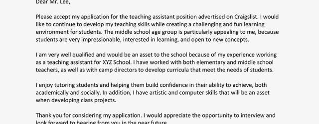 Teaching Assistant Cover Letter Teaching Assistant Cover Letter Samples